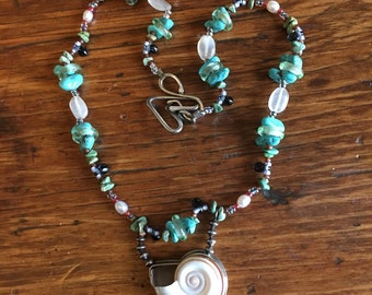 Vintage Turquoise Beads Shell Pendant Necklace Love Has Surfaced
