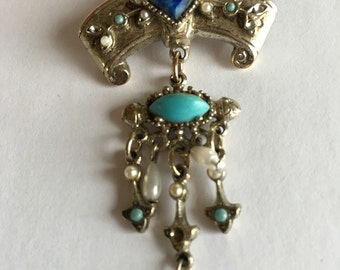 Victorian Revival Designer Art Faux Turquouse Pearl Dangling Brooch