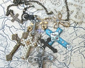 religious necklace cross mix assemblage random found upcycled vintage jewelry altered art charm pendant church lady