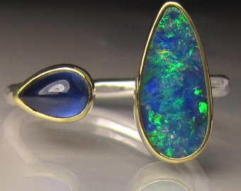 Boulder Opal and Blue Sapphire Ring, 18k Gold and Sterling Silver, Open Stone Ring, Double Stone Open Face Ring, size 6