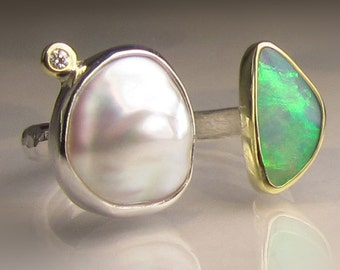 Pearl and Opal Ring, Open Face Pearl and Boulder Opal Ring, 18k Gold and Sterling Silver, Open Stone Cocktail Ring - size 7