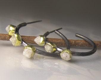 20% OFF SALE -Raw Diamond Hoop Earrings, OOAK Raw Diamond Earrings