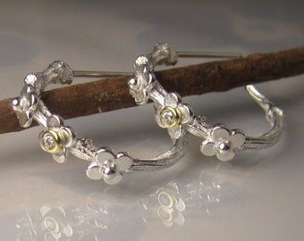 Diamond Hoop Earrings, Diamond Twig Hoop Earrings, Sterling Silver and 18k Gold Diamond Earrings