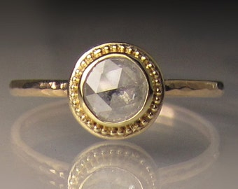 14k Gold Granulated Rose Cut Diamond Engagement Ring