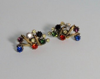 FLORENZA signed Antique gold tone with Multi-Color Rhinestones Clip Earrings.