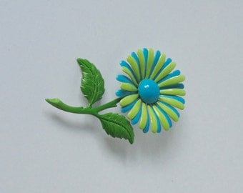 Green and Turquoise Blue Enameled 70s Butterfly Brooch. Butterfly Pin.