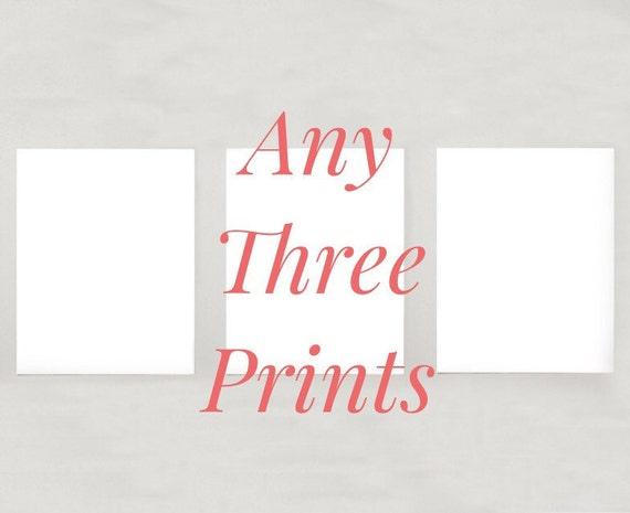 Set of 3 Animal Giclee Prints -- 8x10 // 16x20 // 22x28 - Unique Gift - Home Decor - Man Cave