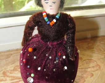 Antique Hand Made American INDIAN WOMEN Pincushion Doll
