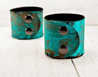 GYPSY JEWELRY - Leather Cuff Teal Turquoise Bracelets Casual 2016 Wrist Cuffs - Leather Wide Tattoo Covers - Valentine's Day