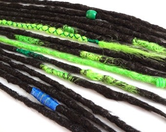 15 Synthetic dreads. Dreadlocks, dreads, braids, synthetic dreadlocks, dreadlock extensions, single ended dark brown dreadlocks with wrap