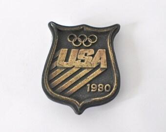Vintage Belt Buckle USA Olympic Team 1980 Winter Brass 80s 70s Crest Design Bergamot Brass