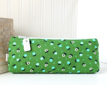 Blue and Green Floral Pencil Case Floral Pencil Pouch Green Purse Organizer