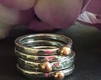 Fine Silver Stacking Rings, Stacking Rings, Bronze