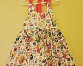 Shopkins dress, halter dress, girl dress, pageant dress