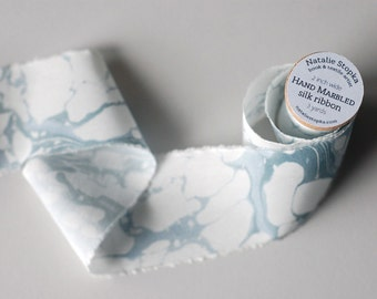 Marbled Silk Ribbon in Lake Blue