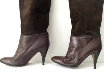 Vintage 80s Brown Suede Leather Slouchy Slouch Knee High Heels Stiletto Boots Shoes Size 6 36 1980s Chocolate OTK