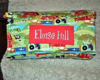 Nap Mat - Monogrammed Oink a Doodle Moo Farm Nap Mat with a Red Minky Dot Blanket