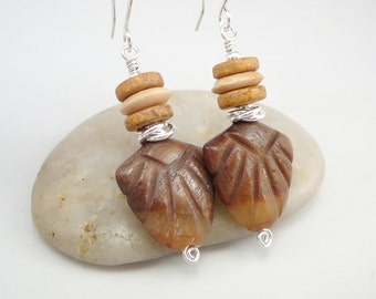 Tribal Earrings, Tribal Jewelry, Shield Earrings, Primitive Earrings, Primitive Jewelry, Jasper Earrings, Ethnic Earrings, Jewelry Gift