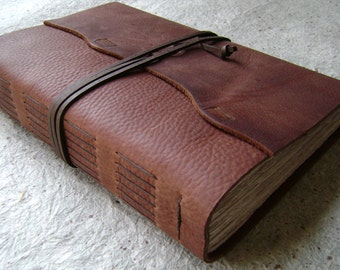 """Handmade Leather Journal, 6""""x 9"""", 360 pages, distressed brown, rustic handmade journal (2111)"""