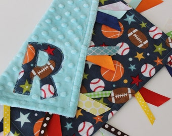 taggie, blanket, baby, boy, gift, sports, custom, personalized, lovey, ribbon, minky, baseball, basketball, football, Riley Blake