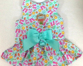 To The Beach We Go Dog Dress Harness Size XXXS through MEDIUM by Doogie Couture