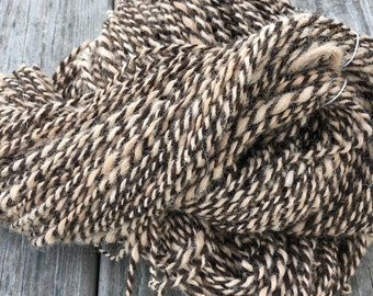 Natural Hand Spun Alpaca Yarn, Two Ply, Worsted Weight, Undyed, Light Fawn and Dark Brown