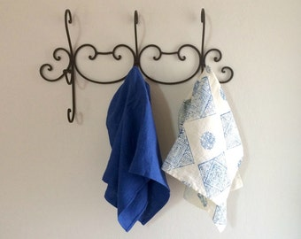 Linen Tea Towel Set, Linen Kitchen Towel Set, Blue Kitchen Towel Set, Set of Two Towels