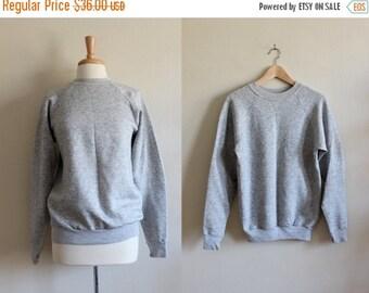 ON SALE Vintage Tri Blend Heather Grey Crewneck Sweatshirt
