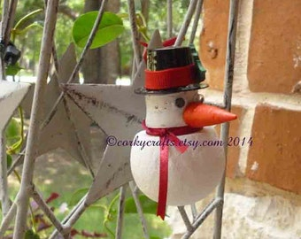 Wine Cork Snowman ornament/bottle tags/gift tag