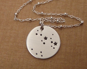 Zodiac Constellation necklace - Custom Zodiac sign jewelry - Hand stamped, Sterling silver astrological sign necklace
