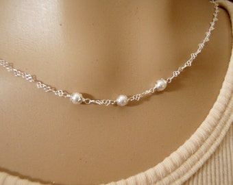 Little girls Swarovski pearl necklace - Girl's pearl necklace or bracelet - First Communion necklace - Flower girl necklace