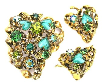 Austria Green and Teal Glass Heart Brooch and Earrings Set
