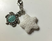 "Pretty Diffuser Badge Holder Charm - ""Teal Turtle"""