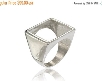 Valentines Day Sale Sterling Silver Square Ring, Open Square ring, Geometric Square Ring, Geometric Designer Jewelry, Silver Square Ring