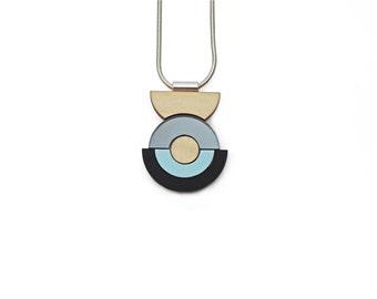 Concentric Circle Necklace - Pastel Blue
