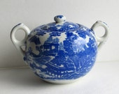 Darling Vintage Blue Willow Sugar Bowl - Made in Japan