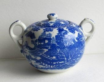 Darling Vintage Blue Willow Sugar Bowl - Made in Japan