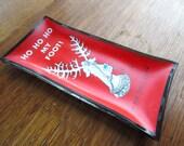 Vintage Christmas Humor Prancer Drunk Santa Glass Houze Art Tray Dish