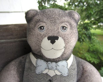 Vintage Victorian Blue Eye Teddy Bear in Vest 1980 The Toy Works