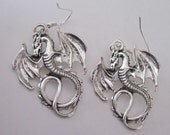 Antiqued Silver Dragon Earrings Gothic Winged Dragons Celtic Dangle Earrings Silver Dangle Earring Dragon Drop Silver Flying Dragon