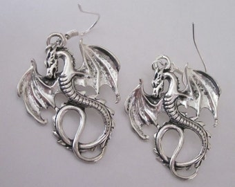 Antiqued Silver Dragon Earrings Gothic Winged Dragons Celtic Dangle Earrings Silver Flying Dragon