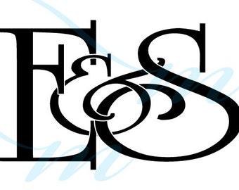 Intertwining Ampersand Monogram - E&S (instant download - JPG, PSD, PDF)