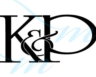 SALE - Intertwining Ampersand Monogram - K&P (instant download - jpg, psd, pdf)