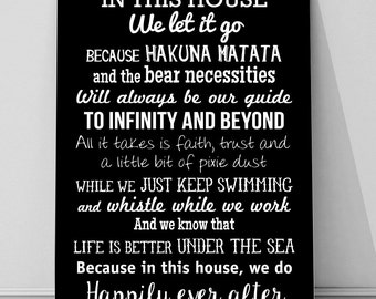 In this House we do, Disney inspired quotes sign A4 metal plaque picture home deco Kitchens