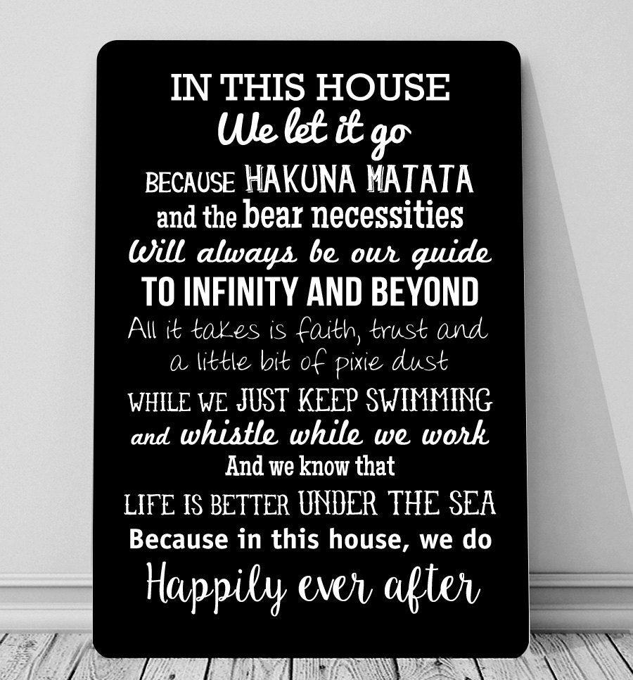 Disney Quote Plaques: In This House We Do Disney Inspired Quotes Sign A4 Metal