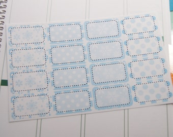 Winter Half Boxes Planner Stickers Blue Snowflakes and Dots  PS237e Fits Erin Condren