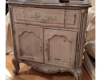 Milk Painted French Bedside Table