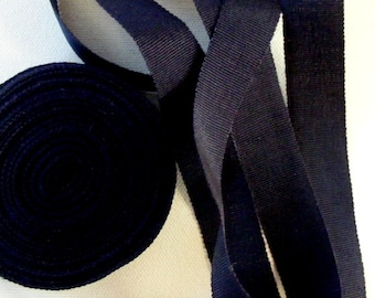 Vintage 1930's-40's Petersham Grosgrain Ribbon -Milliners Stock- 3/4 inch Jet Black