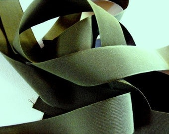 Vintage 1940's-50's  Grosgrain -Milliners Stock- 1 1/2 inch Olive Green