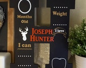 New Baby Chalkboard Initial - Growth Chart - Personalized Monthly Photo Prop